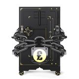 Safe closed on the lock and chain. On chains hanging lock with pound Stock Images