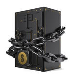 Safe closed on the lock and chain. On chains hanging lock with USDA Stock Images
