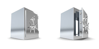 Safe, closed and open. 2 Safes, one is open, one closed. High resolution rendering Royalty Free Stock Photo