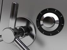 Safe closeup. 3d illustration of steel safe door closeup Stock Photos