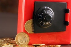 Safe with Coins Stock Photo