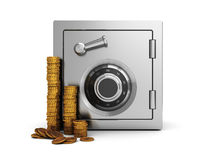 Safe and coins Royalty Free Stock Photo
