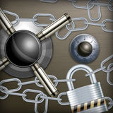 Safe combination lock & chain Stock Photo