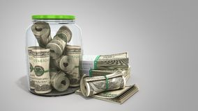 Safe concept Many 100 US dollars bank notes in a glass jar 3d re Stock Photography