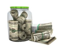Safe concept Many 100 US dollars bank notes in a glass jar 3d re Stock Photos