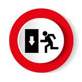 Safe condition sign. Emergency exit. Black icon on white background in a red circle Royalty Free Stock Photos
