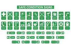 Safe condition signs. Set of safe condition signs on white background vector illustration