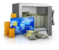 Safe and credit card. Safe with money and credit card. 3d rendering Royalty Free Stock Photo