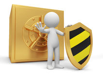Safe. A 3d man with a shield stopping the people, back to the safe Royalty Free Stock Photo