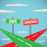 Safe and dangerous. Abstract colorful background with two roads intersecting in skies. Safe way and dangerous way concept Royalty Free Stock Images