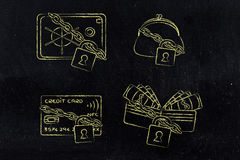 &safe de bourse de portefeuille de carte de crédit avec la serrure et la chaîne Image stock