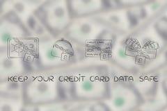 &safe della borsa del portafoglio della carta di credito con la serratura e la catena Immagini Stock Libere da Diritti