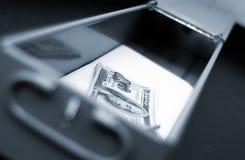 Safe deposit box. Money inside safe deposit box Stock Photos