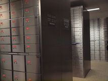 Safe Deposit Box. Rows of safe deposit boxes Royalty Free Stock Photography