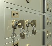 Safe Deposit Box. Banker and client key in the safe deposit box (3D illustration Stock Photo
