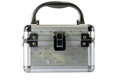 Safe deposit box. Aluminum rectangular box on a white background Royalty Free Stock Photography