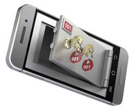 Safe deposit box in the mobile phone. 3D illustration Stock Images