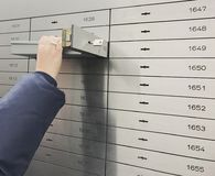 Safe deposit box open in a sure safe deposit cell. In Germany stock images