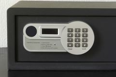 Safe deposit box with operating instructions Stock Photo