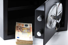 Safe Deposit Box, Pile of Cash Money, Euros Stock Photos