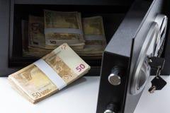 Safe Deposit Box, Pile of Cash Money, Euros Stock Images