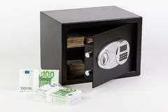 Safe Deposit Box, Pile of Cash Money, Euros. Royalty Free Stock Images