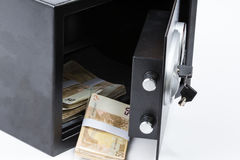 Safe Deposit Box, Pile of Cash Money, Euros Royalty Free Stock Photos