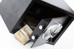 Safe Deposit Box, Pile of Cash Money, Euros Stock Photo