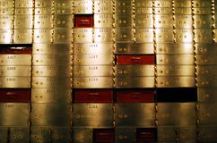 Safe deposit boxes. Brass safe deposit boxes in an old bank in San Diego, California royalty free stock photos