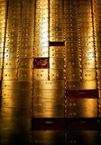 Safe deposit boxes. Brass safe deposit boxes in an old bank in San Diego, California stock photos