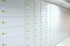 Safe deposit boxes. Vault of safe deposit boxes royalty free stock photo