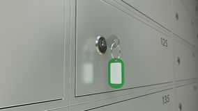 Safe Deposit Boxes In A Bank And The Key With Freen Tag. Shallow Focus, CGI Stock Photo
