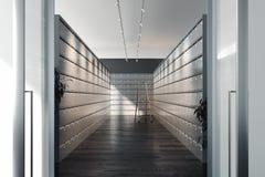 Safe deposit boxes and ladder inside bank vault. Safety closets. 3d rendering. Safe deposit boxes inside bank vault with switched-on light. Safety closets. File stock photography