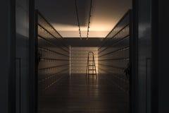 Safe deposit boxes and ladder inside bank vault. Safety closets. 3d rendering. Safe deposit boxes inside bank vault with switched-off light. Safety closets. File stock images