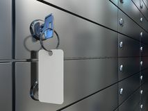 Safe deposit boxes and key Stock Photos