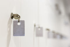 Safe deposit boxes with keys tag Stock Photo