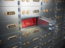 Safe deposit boxes with open one safe cell. Royalty Free Stock Photo