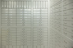 Safe Deposit Boxes. Room with safe deposit boxes stock photography
