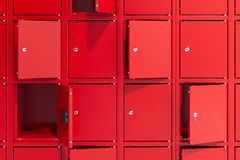 Safe deposit boxes with switched-on light. Safety closets. 3d rendering. Red safe deposit boxes with switched-on light. Safety closets. 3d rendering. Some safe royalty free stock images