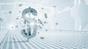Safe deposit future design. Futuristic designed elegant interior with big broken dollar sign Stock Photos