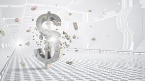 Safe deposit future design . Mixed media. Virtual white interior with dollar currency symbol Stock Photos