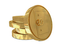 Safe deposit in golden coins Stock Photography