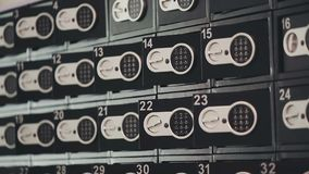Safe deposit lockers in bank stock footage