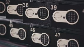 Safe deposit lockers in bank stock video footage