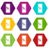 Safe door icon set color hexahedron. Safe door icon set many color hexahedron isolated on white vector illustration Stock Image