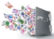 Safe with the door open and money flying out Stock Photography