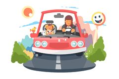 Safe driving mother with baby children car trip. stock illustration