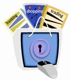 Safe E-commerce. Illustration depicting E-commerce as the key to convenience trading ,banking and shopping while practicing safe and secure online procedures