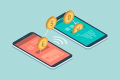 E-payments and transactions on mobile devices. Safe and easy e-payments on smartphone using financial apps: international currencies and bitcoins transferring Stock Photos