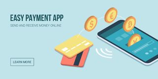 E-payments and transactions on mobile devices. Safe and easy e-payments on smartphone using financial apps and international currencies: a user is receiving Royalty Free Stock Photo